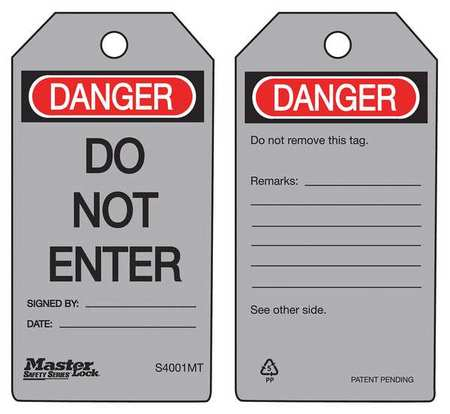 MASTER LOCK S4001MT Metal Detectable Danger Tag, PK6
