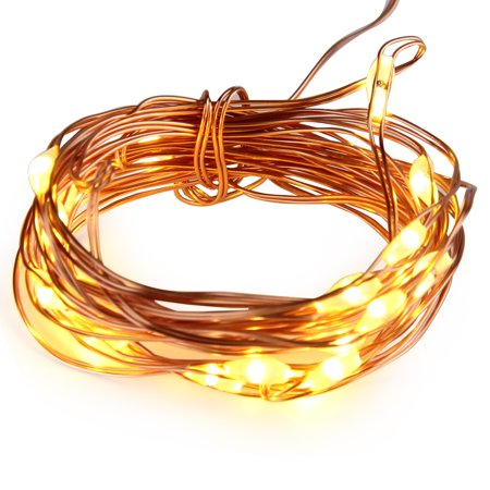 SUPERNIGHT Fairy Strip Light Battery Operated 7 Foot 20 Leds,Copper Wire Lights, Warm While,Work for Party , Wedding Centerpiece,Table Decorations (Not Included 3AA Batteries)