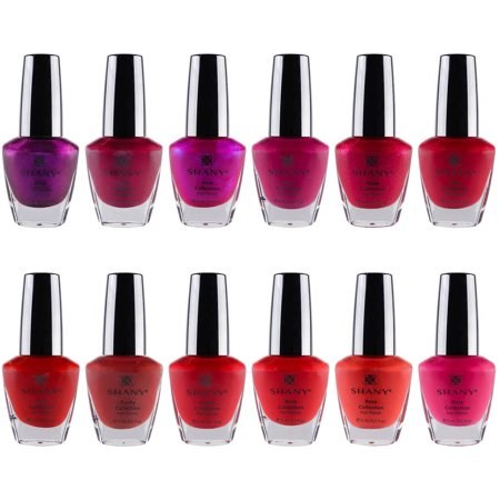 SHANY Cosmetics Rose Collection Nail Polish Set, 0.5 fl oz, 12 count (Red Glitter Halloween Nails)