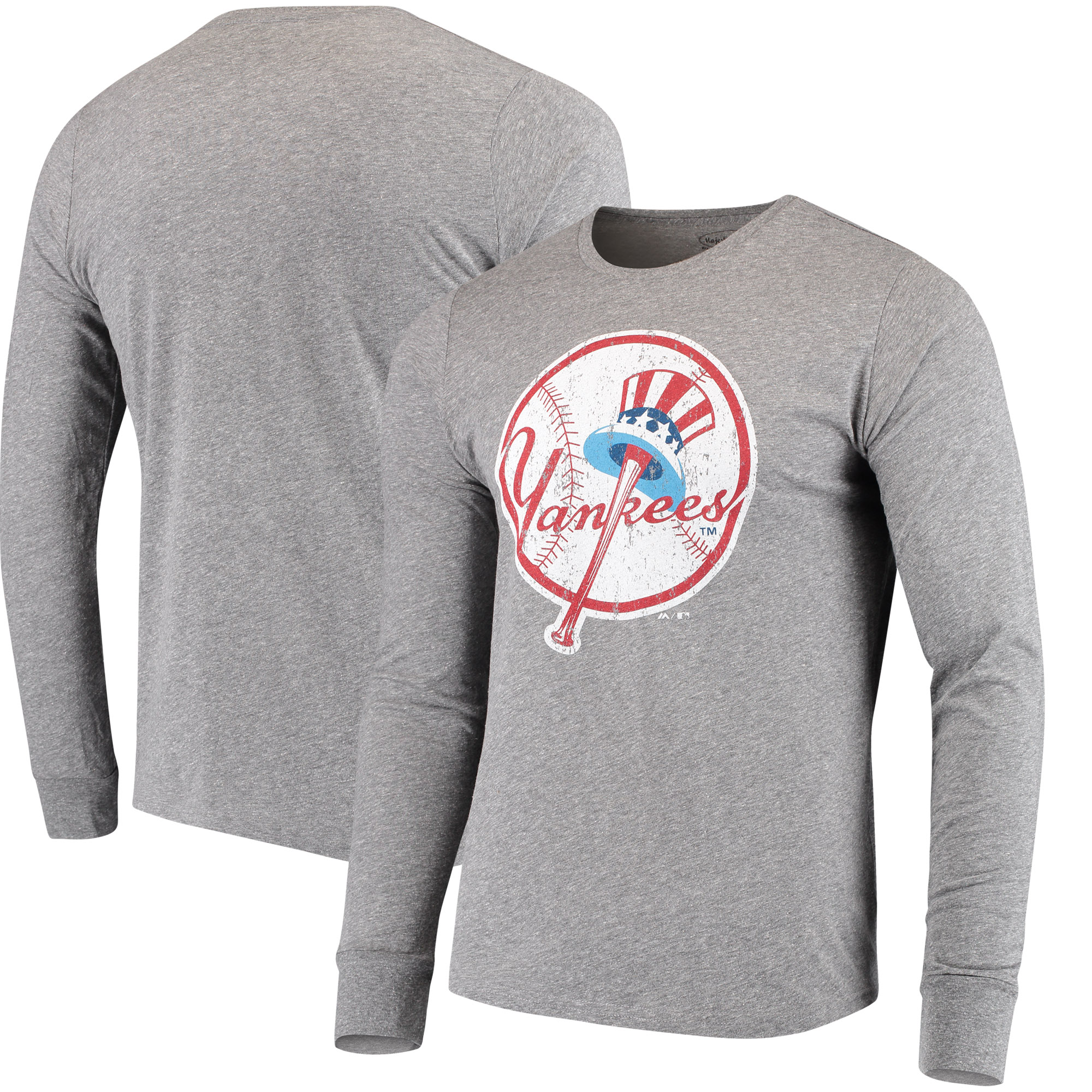 New York Yankees Majestic Threads Cooperstown Collection Tri-Blend Long Sleeve T-Shirt - Heathered Gray