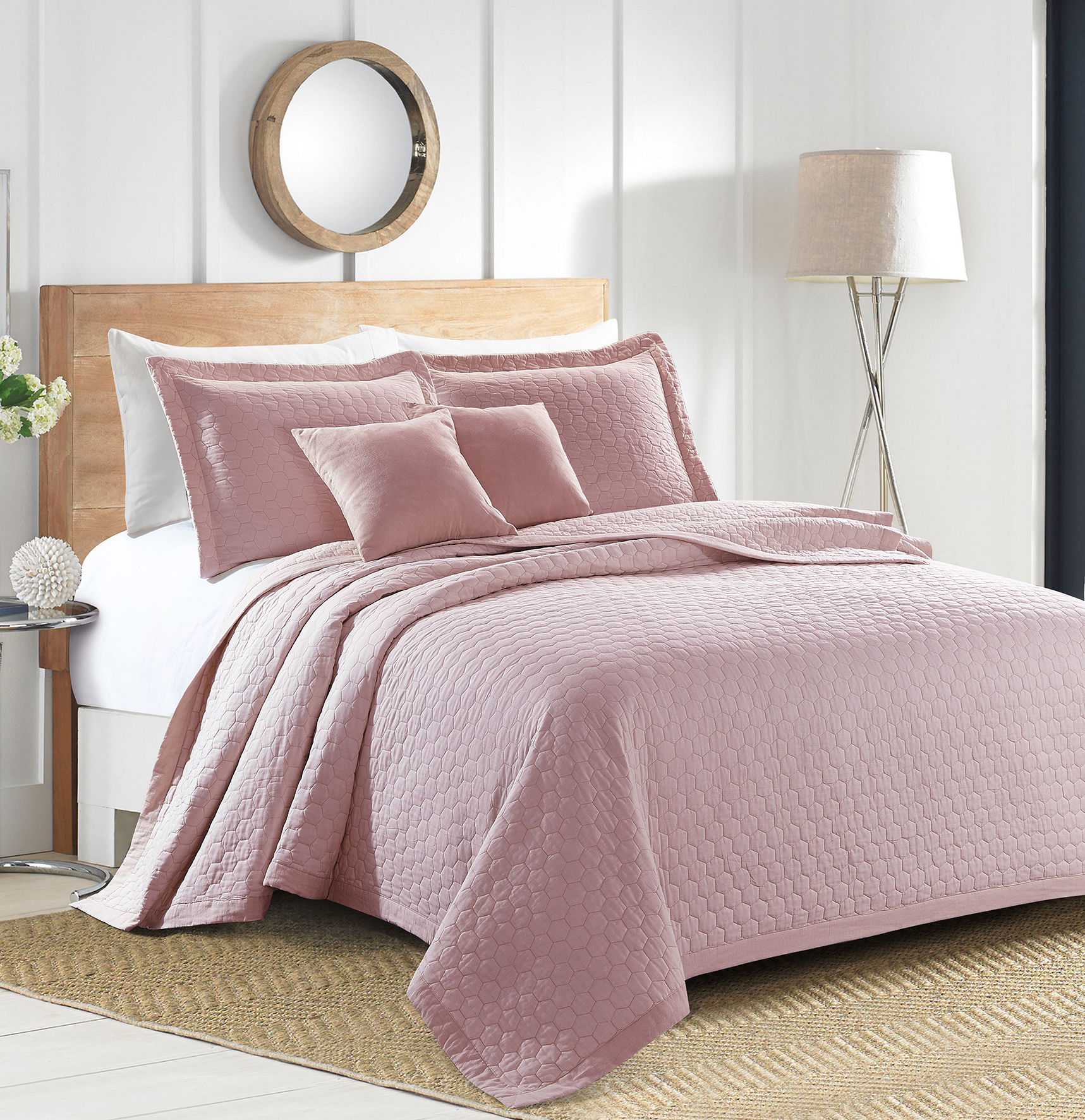 Sherry Kline Rombo Embroidered 3-piece King Pink Cotton Quilt Set