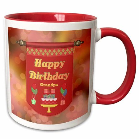 The Party Aisle Happy Birthday Grandpa Banner Cake With Gifts And Balloons Coffee Mug