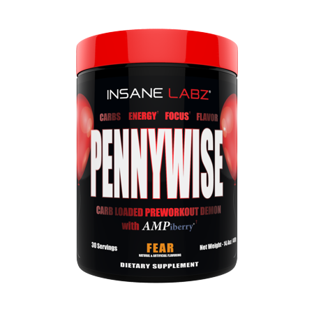 Insane Labz Pennywise Mass Gaining High Stimulant Pre Workout Powder, Energy Focus Strength Pumps, Loaded with Creatine 10g of Carbs Infinergy Caffeine fueled by AMPiberry, 30