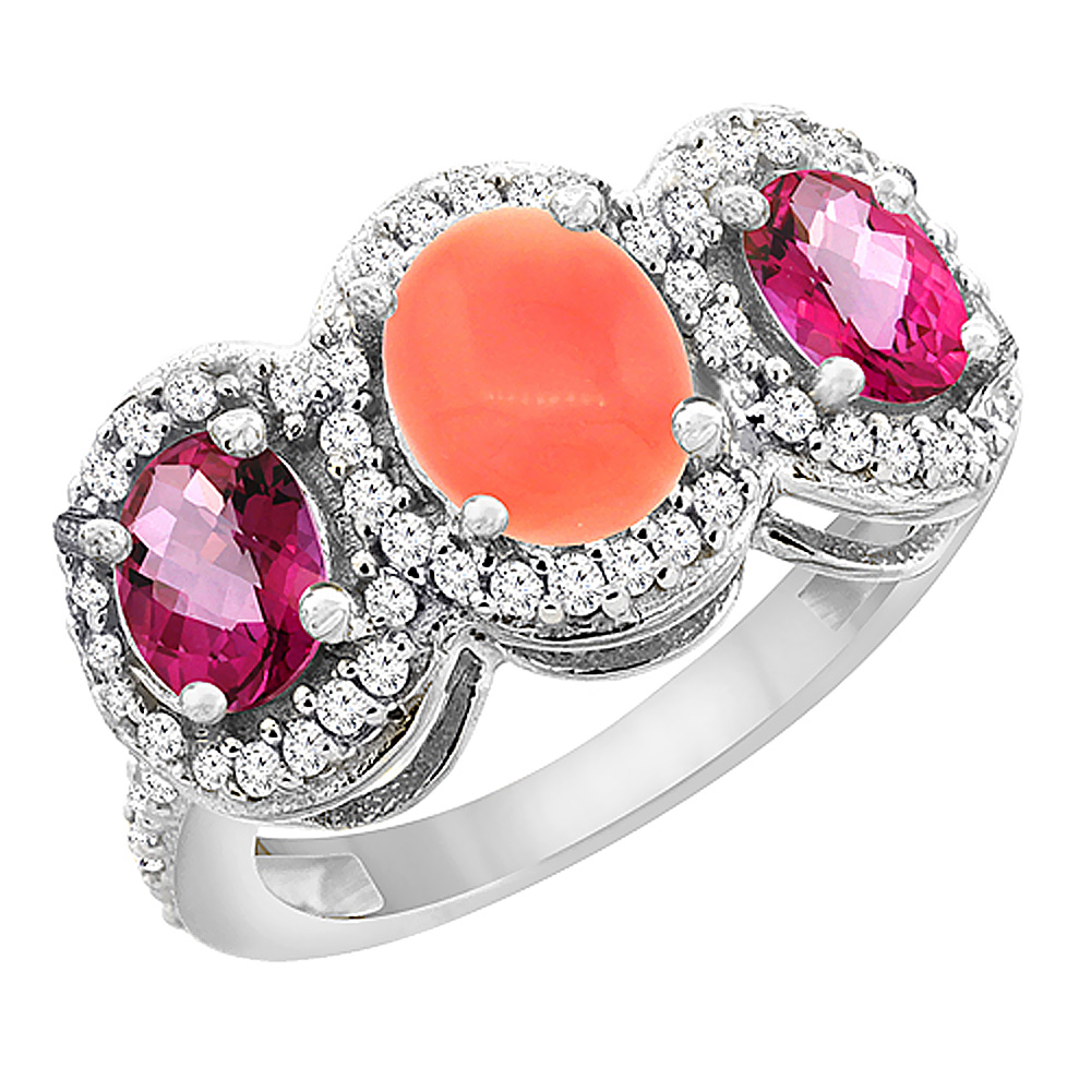 10K White Gold Natural Coral & Pink Topaz 3-Stone Ring Oval Diamond Accent, size 6 by Gabriella Gold