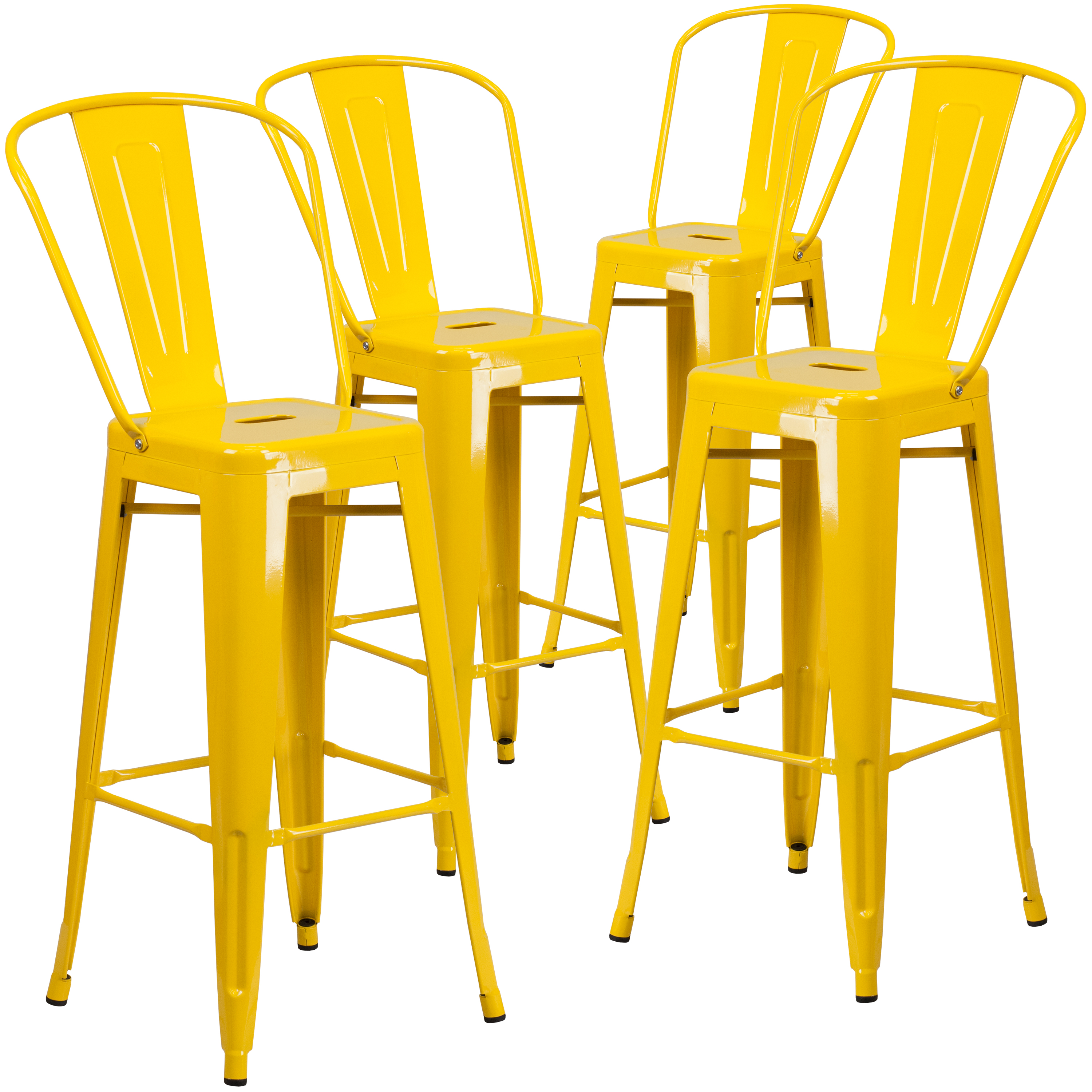 "Flash Furniture 4-Pack 30"" High Metal Indoor-Outdoor Barstool with Back, Multiple Colors"