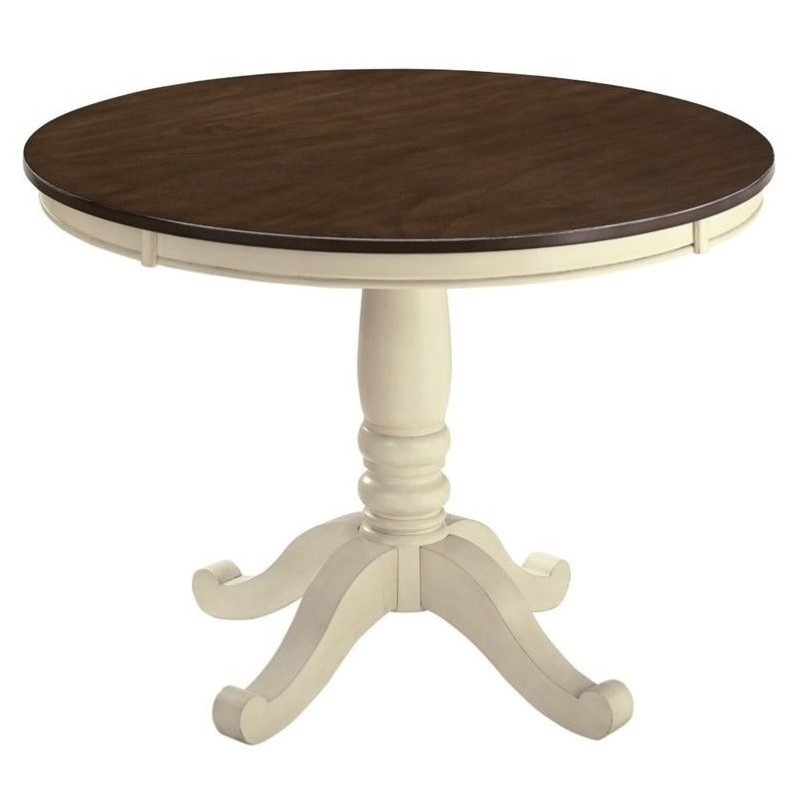 Ashley Whitesburg Round Dining Table in Brown and Cottage White by Ashley Furniture