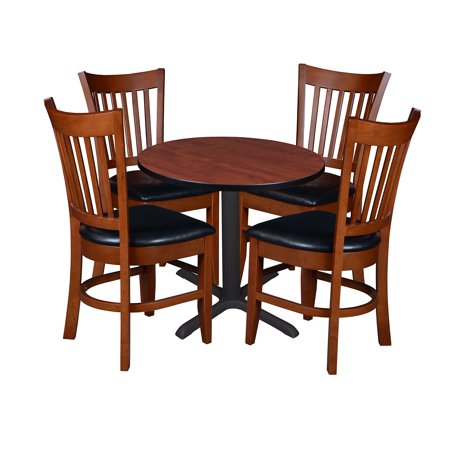 Enjoyable Cain 30 Round Breakroom Table With 4 Zoe Cafe Chairs Cherry Dailytribune Chair Design For Home Dailytribuneorg