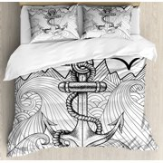 Anchor Duvet Cover Set, Zentangle Style Ocean and Clouds Hand Drawn Artistic Arrangement Marine Theme, Decorative Bedding Set with Pillow Shams, Black White, by Ambesonne