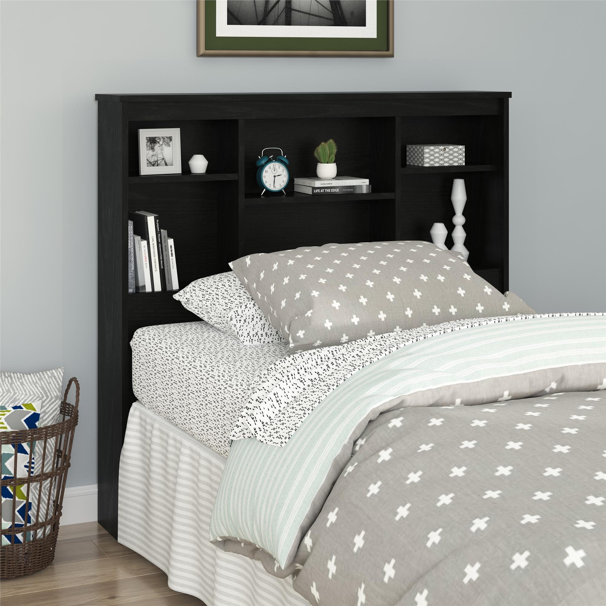 Mainstays Twin Storage Headboard, Nightfall Oak