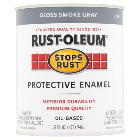 - Rust-Oleum Stops Rust Gloss Smoke Gray Oil-Based Protective Enamel, 32 fl oz