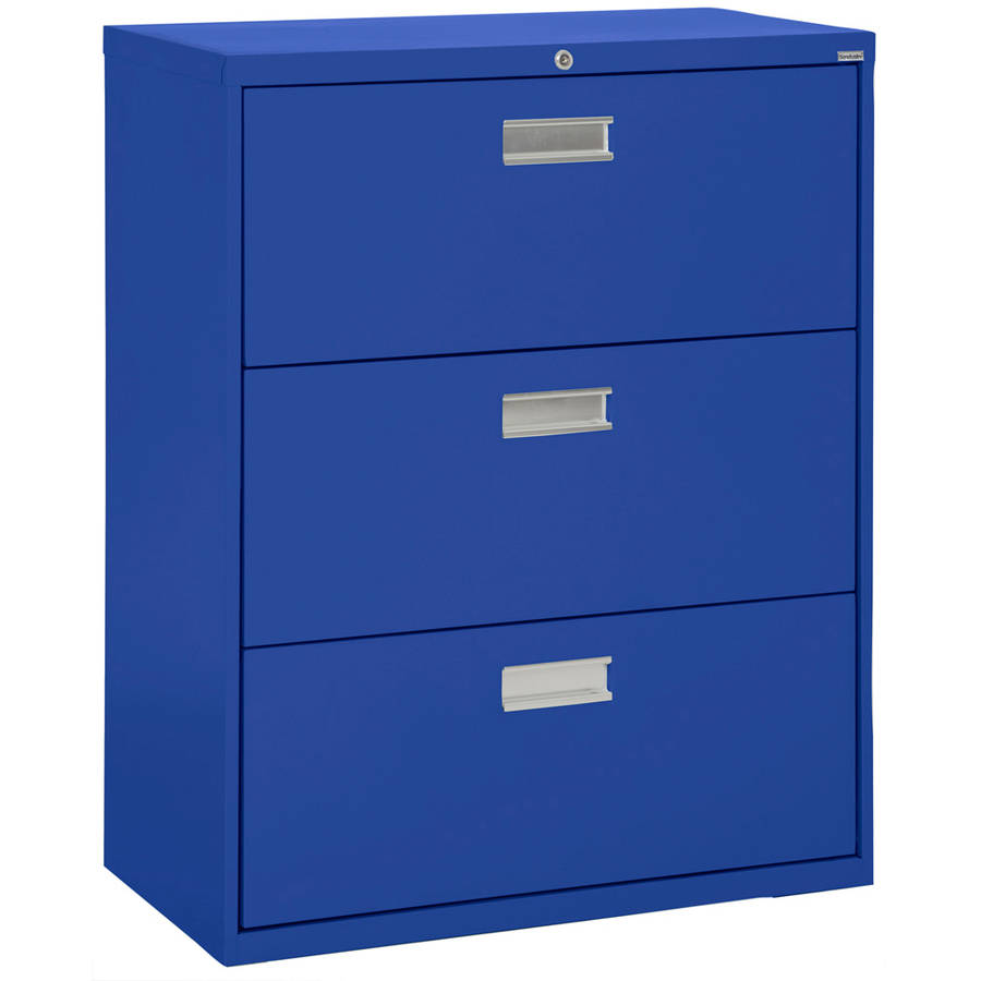 "Sandusky Lee 600 Series 36"" 3-Drawer Lateral File, Blue"
