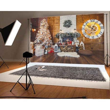 MOHome Polyster 7x5ft Christmas Photography Backdrop Interior Decorations Tree Fireplace Fire Wood Gift Box Garland Blanket Clock Scene Photo Background Children Baby Adults Portraits Backdrop