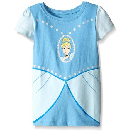 Disney Toddler Girls Cinderella Short Sleeve Costume Tee, Light Blue