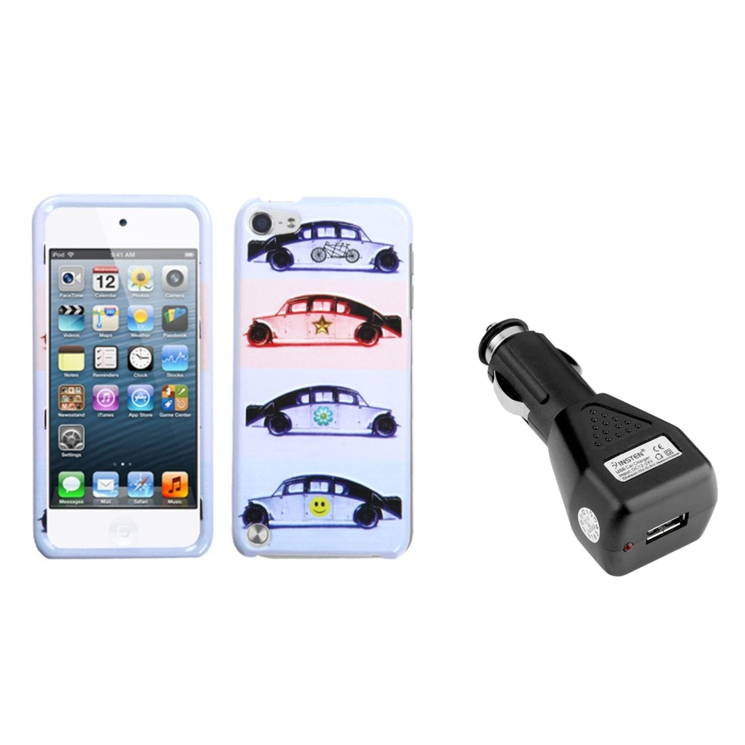 Insten Running Jeep Phone Protector Cover Case For iPod Touch 6 6G 5 5G + USB Car Charger