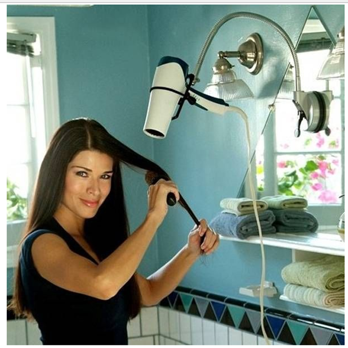360° Adjustable Hands Free Hair Dryer Wall Mount Stand Holder With Suction Cup