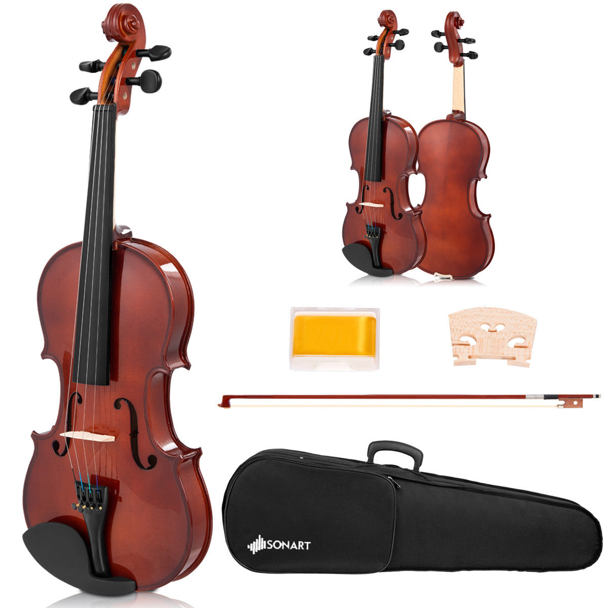 Full Size 4/4 Violin Solid Wood w/ Hard Case Bow Rosin Bridge Student Starter - image 10 de 10