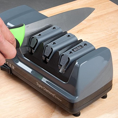 Click here to buy Mercer M10000 Triple Diamond 3 Stage Professional Electric Knife Sharpener by Mercer.
