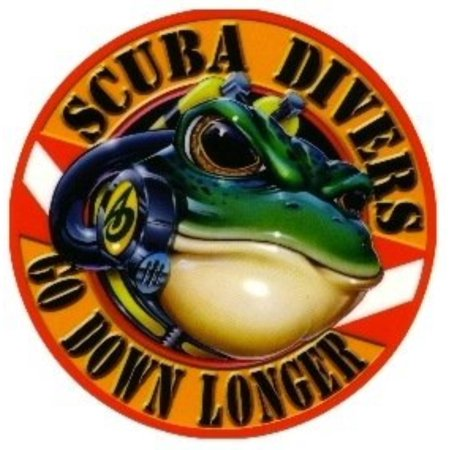 New 5 Inch Amphibious Outfitters Scuba Frog Die Cut Sticker Decal for Your Boat, Tanks or Auto - Scuba Divers Go Down Longer, Durable PVC Construction By Innovative Scuba Concepts