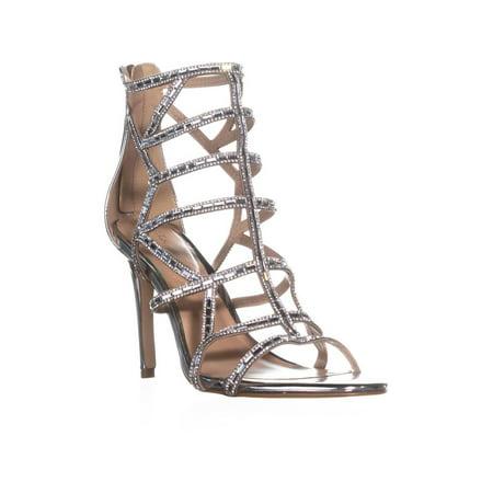 Womens Aldo Norta Zip Up Stiletto Evening Sandals, Silver, 11 US / 42.5 -