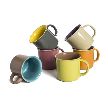 Jumbo Coffee - Yedi 20 Oz. Jumbo Ceramic Coffee Tea Beverage Drink Mugs with Handles, Set of 6