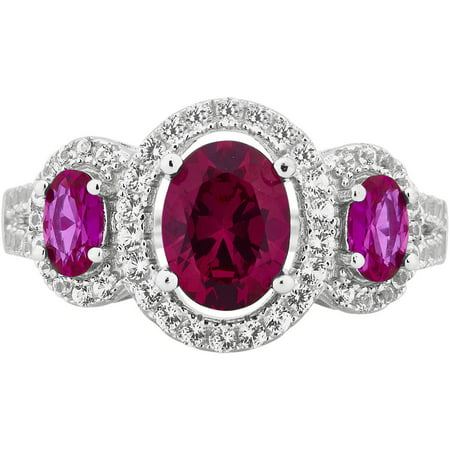 Created Ruby and White Sapphire Gemstone Sterling Silver Three Stone Oval Frame Ring