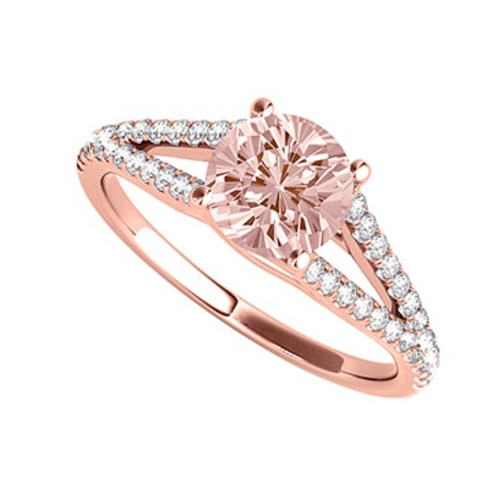 April Birthstone CZ and Morganite Ring with Split Shank - image 1 de 2