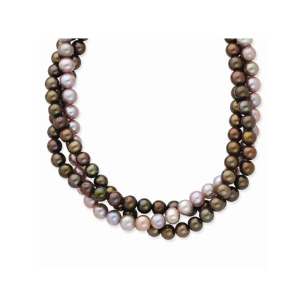 - 14k Yellow Gold Triple Strand Off-Round Brown and Purple Freshwater Cultured Pearl Bead Necklace
