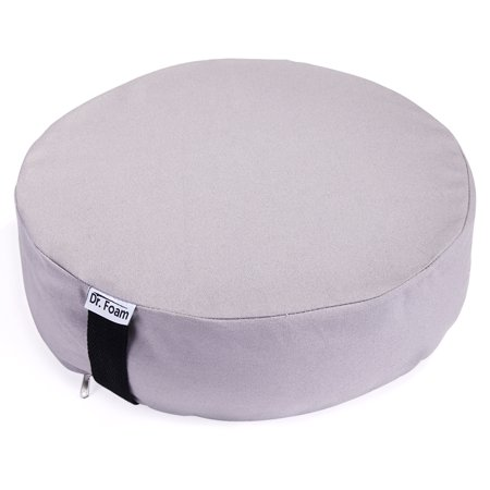 Posey Foam Cushion (DR. FOAM Premium Comfort Memory Foam and Natural Buckwheat Hulls Round Cotton Meditation Bolster Seat Cushion for Spine Support )