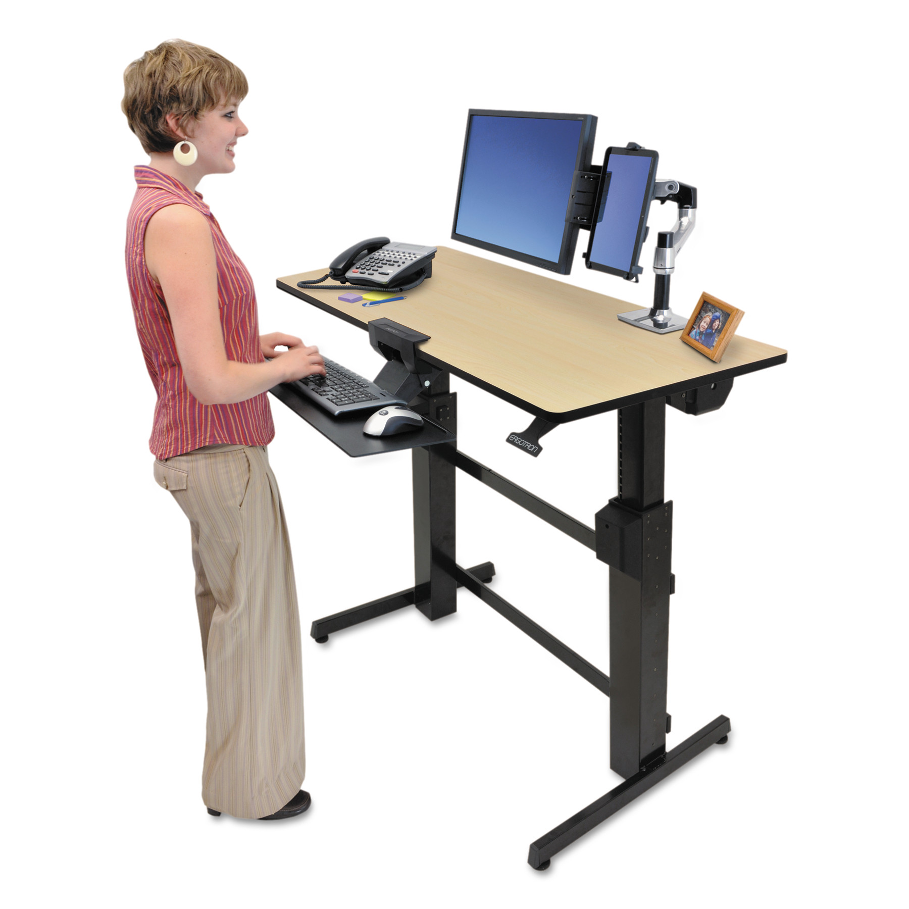 Ergotron WorkFit D Sit-Stand Workstation, 47 5/8 x 23 1/2 x 50 5/8, Birch/Black