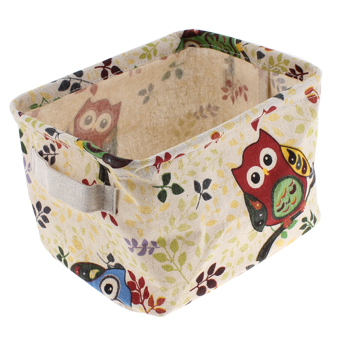 Metal Frame Owl Leaf Pattern Rectangle Shaped Storage Basket Bucket Container