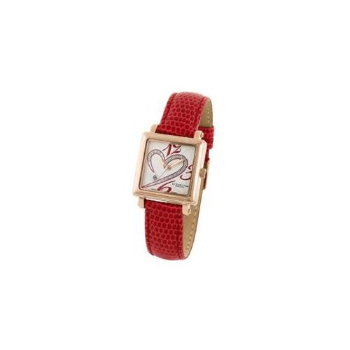 Stuhrling Original 253. 1145H2 Ladies Courtly Diamond Watch on a Red Strap, Rosetone Case and Red Dial
