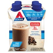 Atkins Gluten Free Protein-Rich Shake, Dark Chocolate Royale, Keto Friendly, 4 Count (Ready to Drink)