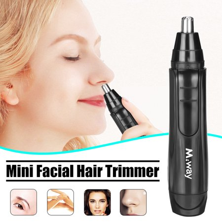 M.way Wet Dry Electric Portable Personal Ear Nose Eyebrow Mustache Face Hair Removal Trimmer Shaver Clipper Cleaner Remover Tool for Men Women With Stainless Steel Blade