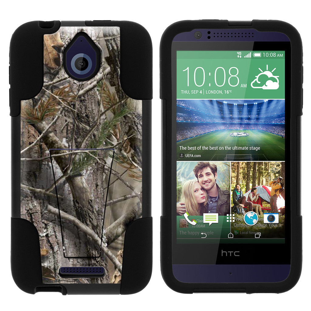 HTC Desire 510 STRIKE IMPACT Dual Layered Shock Resistant Case with Built-In Kickstand by Miniturtle® - Tree Bark Camo