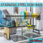 2-Tier Dish Drying Rack, Stainless Steel Drain Rack Dishes Drainer Over Sink Shelf Dish Cutlery Drying Drainer Utensils Holder Washing Organizer Kitchen Space Saver