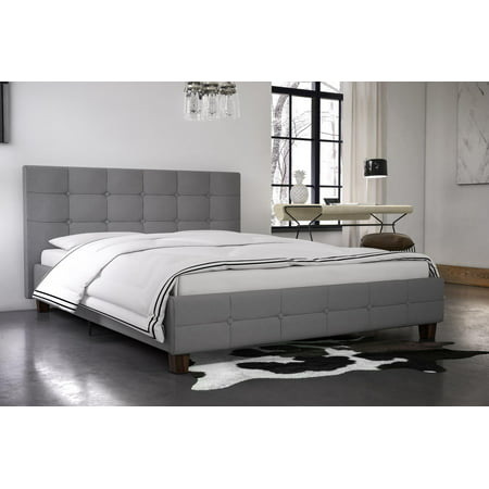 Style Twin Slat (DHP Rose Linen Button Tufted Upholstered Platform Bed with Wooden Slats, Multiple Colors and Sizes)