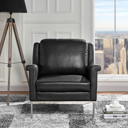Modern Living Room Leather Armchair, Accent Chair (Black)