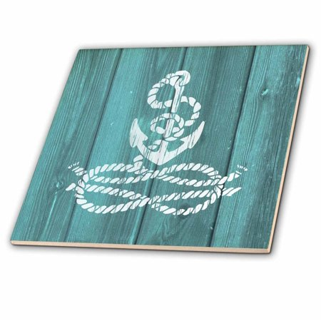 3dRose Distressed Painted White Anchor with Knotted Rope- not real wood - Ceramic Tile, 4-inch