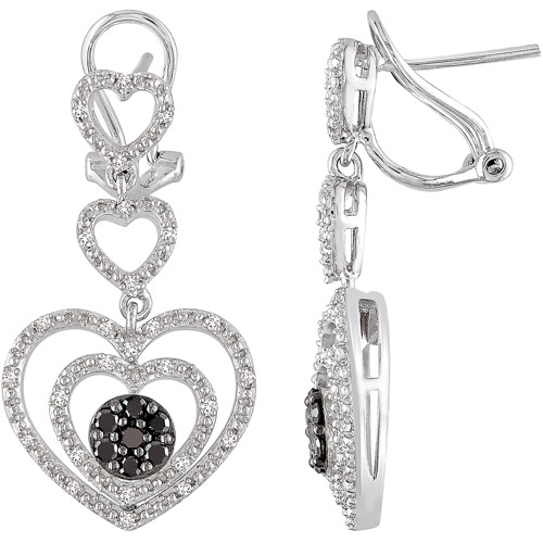 1/2 Carat T.W. Black and White Diamond Sterling Silver Fashion Earrings (1.7mm)