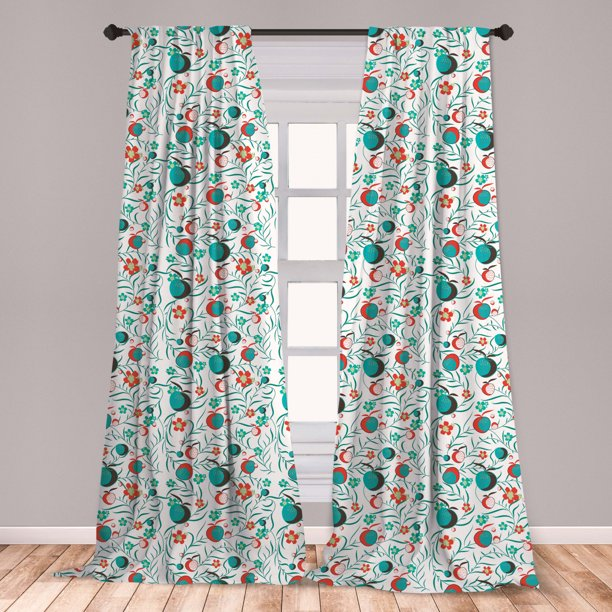 Garden Art Curtains 2 Panels Set Foliage With Blooms And Fruits Abstract Yard Swirling Leafy Stems Window Drapes For Living Room Bedroom Dark Brown Vermilion By Ambesonne Walmart Com Walmart Com