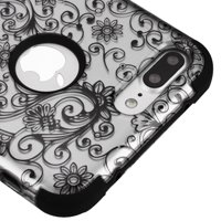 Kaleidio Case For Apple iPhone 8 Plus [TUFF Armor] Impact Protective Hybrid [Shockproof] 3-Piece Dual Layer Rubber Cover w/ Overbrawn Prying Tool [Black/Black]