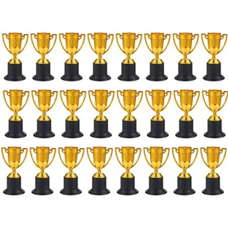 Plastic Awards Trophies (juvale award trophies - 24-pack plastic gold trophy cups for sports tournaments, competitions, parties, 1.9 x 4 x 1.9)