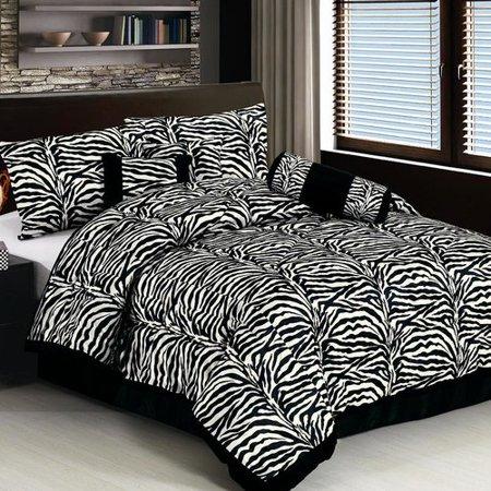 LaCozee Classic 7 Piece Zebra Print Comforter Set. LaCozee Classic 7 Piece Zebra Print Comforter Set   Walmart com
