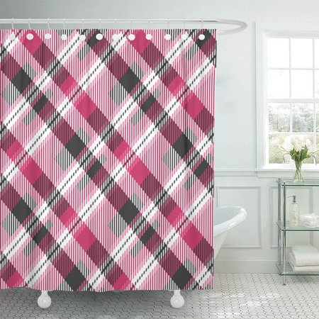 KSADK Pink British Tartan Patterns in Gray Lilac Celtic Check Classic Color Flannel Geometric Kilt Bathroom Shower Curtain 60x72 inch