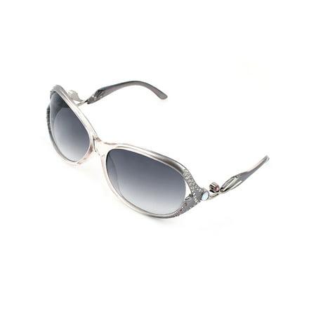 (Driving Cycling Plastic Rhinestones Inlaid Full Rim Oval Lens Sunglasses Gray)