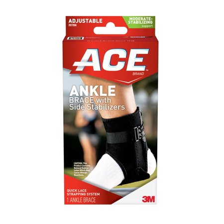 ACE Ankle Brace with Side Stabilizers, One Size Adjustable
