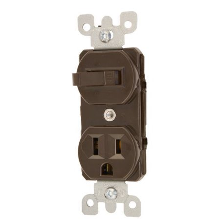 Leviton 5225 15 Amp, 120 Volt, Duplex Style Combination Single Pole Switch/Receptacle Grounding, -