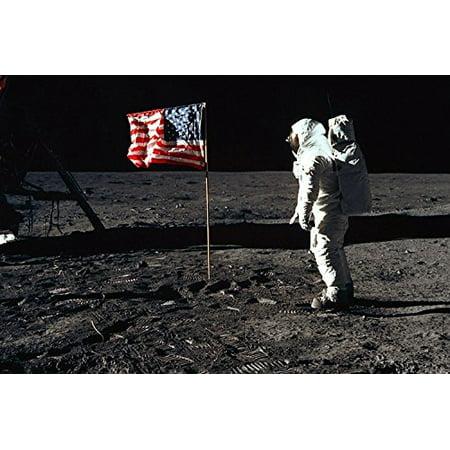 Moon Astronaut Usa Flag Nasa Poster 24X36 60