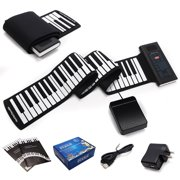 Gymax 88 Keys Roll Up Piano Electronic Music Keyboard Silicone Rechargeable w/Pedal