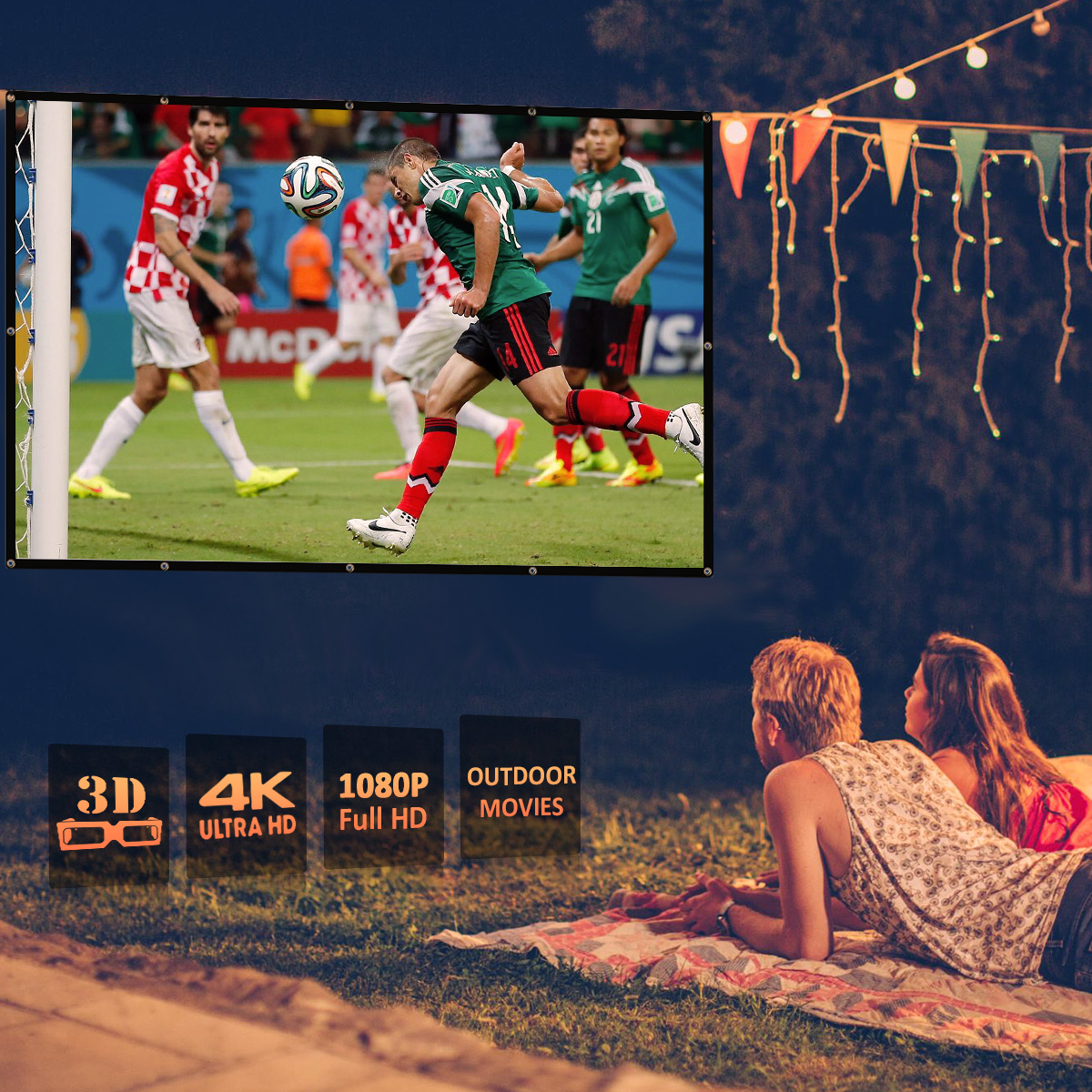 Excelvan Indoor Outdoor Portable Movie Screen 84 Inch 16:9 Home Cinema Projector Screen Roll Easily, PVC Fabric